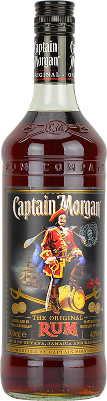 Engraved text on a bottle of Personalised Captain Morgan Original Rum 70cl