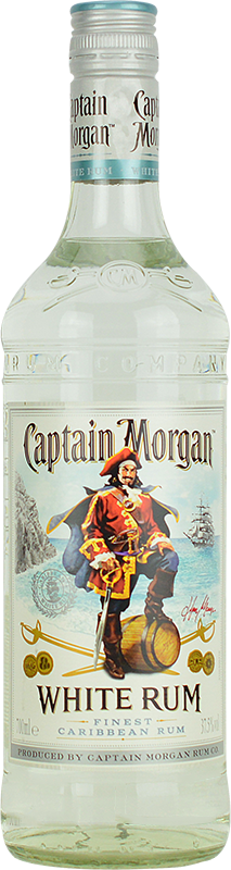 Engraved text on a bottle of Personalised Captain Morgan White Rum 70cl