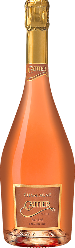 Engraved text on a bottle of Personalised Cattier Premier Cru Brut Rose Champagne 75cl