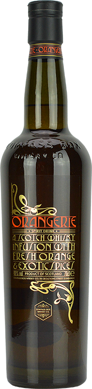Engraved text on a bottle of Personalised Compass Box Orangerie Blended Whisky 70cl