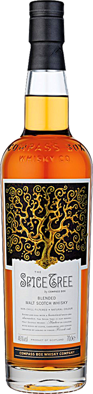 Engraved text on a bottle of Personalised Compass Box The Spice Tree Whisky 70cl