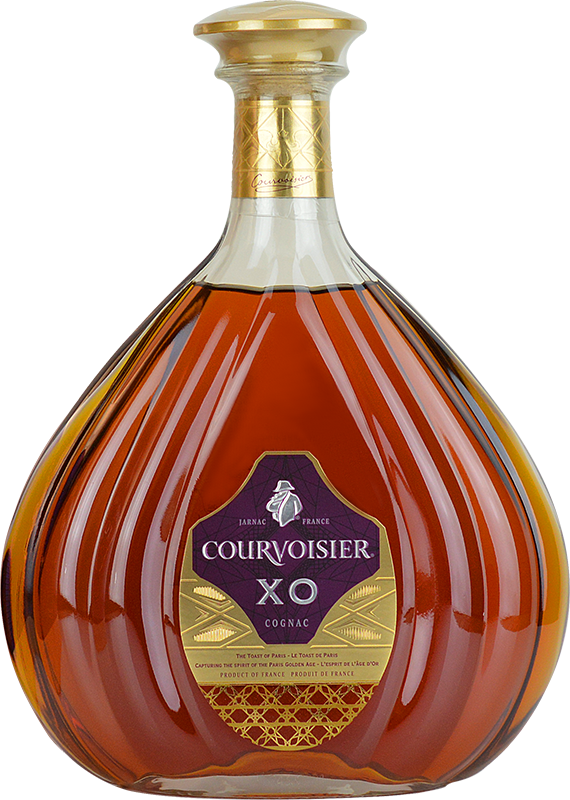 Engraved text on a bottle of Personalised Courvoisier XO Cognac 70cl