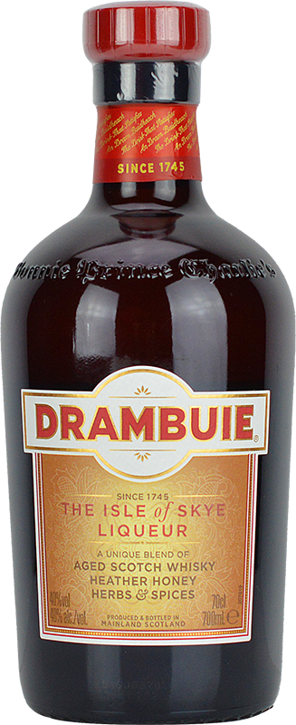 Engraved text on a bottle of Personalised Drambuie Whisky Liqueur 70cl