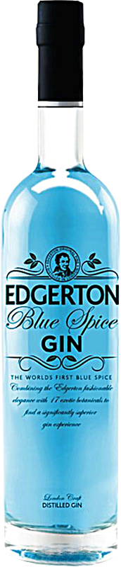 Personalised Edgerton Blue Spice Gin 70cl engraved bottle