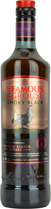 Engraved text on a bottle of Personalised Famous Grouse Smoky Black Whisky 70cl