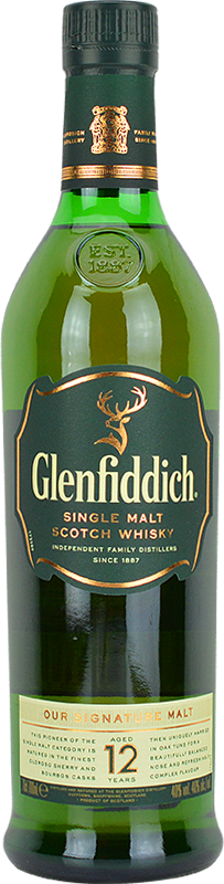 Engraved text on a bottle of Personalised Glenfiddich 12 Year Old Whisky 70cl