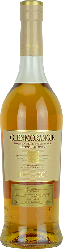 Engraved text on a bottle of Personalised Glenmorangie Nectar D'Or Whisky 70cl