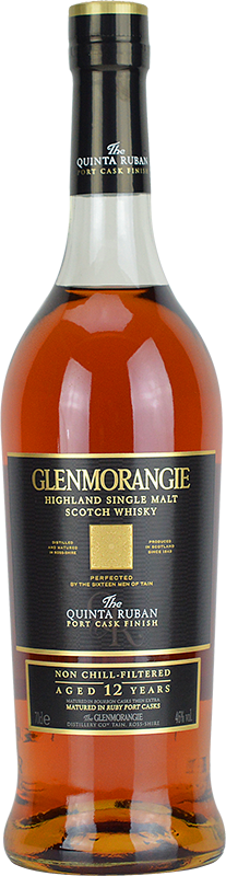 Engraved text on a bottle of Personalised Glenmorangie Quinta Ruban Whisky 70cl
