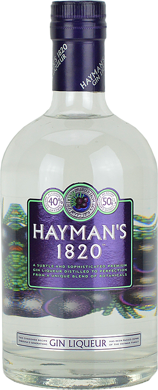 Engraved text on a bottle of Personalised Haymans 1820 Gin Liqueur 70cl