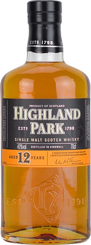 Engraved text on a bottle of Personalised Highland Park 12 Year Old Whisky 70cl