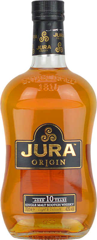 Engraved text on a bottle of Personalised Isle of Jura 10 Year Old Origin Whisky 70cl