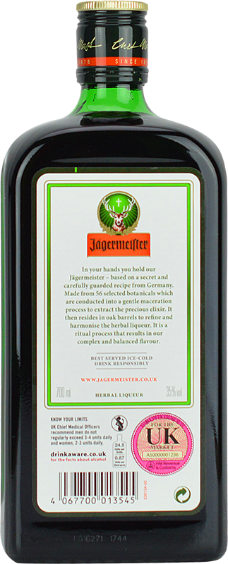 Personalised Jagermeister Herbal Liqueur 70cl engraved bottle