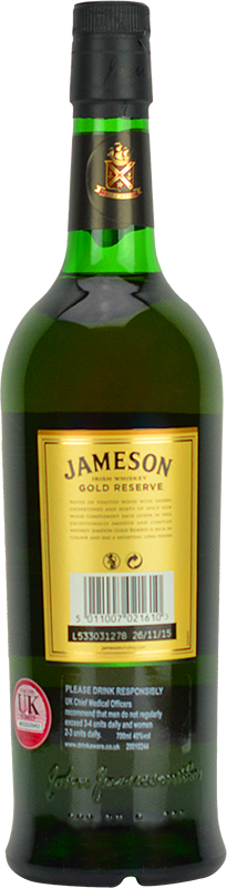 Personalised Jameson Gold Reserve 70cl engraved bottle