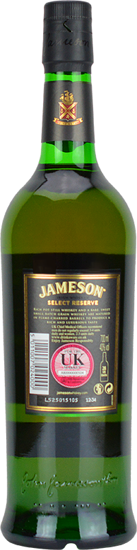 Personalised Jameson Select Reserve Black Barrel Whiskey 70cl engraved bottle