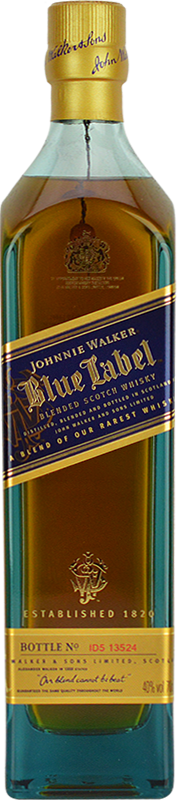 Engraved text on a bottle of Personalised Johnnie Walker Blue Label Whisky 70cl