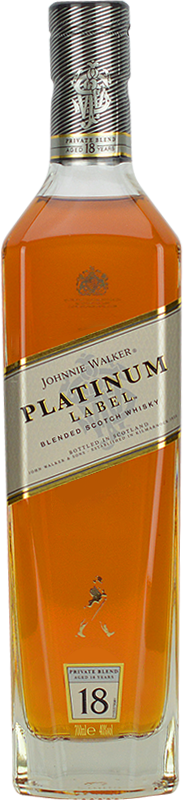 Engraved text on a bottle of Personalised Johnnie Walker Platinum Whisky 70cl