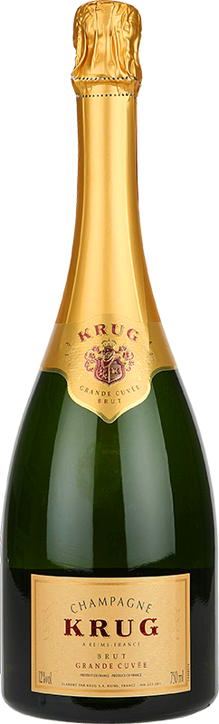Engraved text on a bottle of Personalised Krug Grand Cuvee Champagne 75cl
