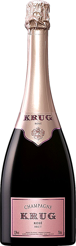 Engraved text on a bottle of Personalised Krug Rose Champagne 75cl