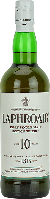Engraved text on a bottle of Personalised Laphroaig 10 Year Old Whisky 70cl