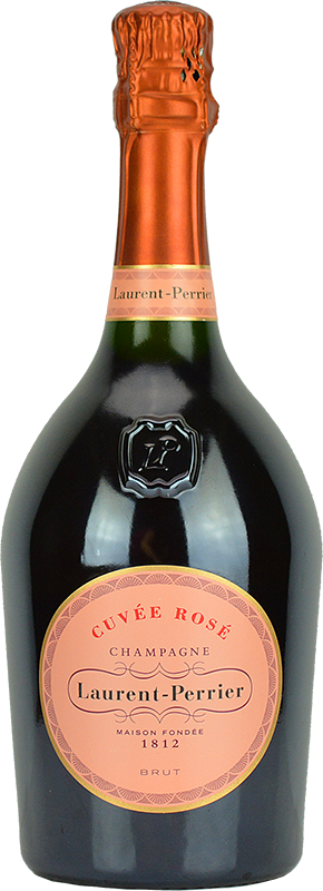 Engraved text on a bottle of Personalised Laurent Perrier Rose Champagne 75cl