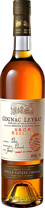 Engraved text on a bottle of Personalised Leyrat VSOP Cognac 70cl
