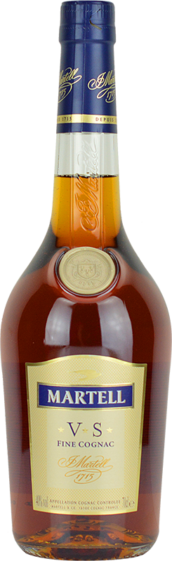 Engraved text on a bottle of Personalised Martell VS Cognac 70cl