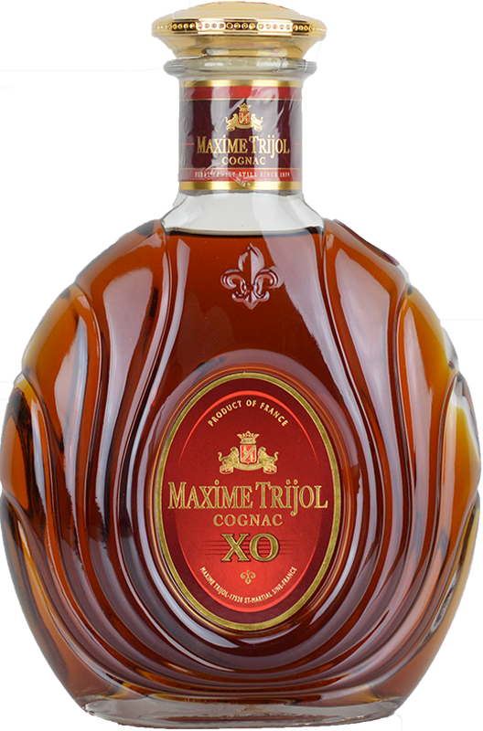 Engraved text on a bottle of Personalised Maxime Trijol Classic XO Cognac 70cl