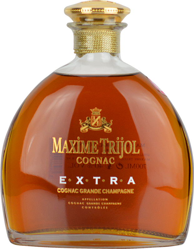Engraved text on a bottle of Personalised Maxime Trijol Extra Grande Champagne Cognac 70cl