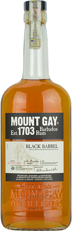 Engraved text on a bottle of Personalised Mount Gay Black Barrel Rum 70cl