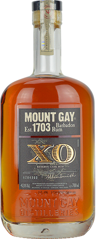 Engraved text on a bottle of Personalised Mount Gay Extra Old Rum 70cl