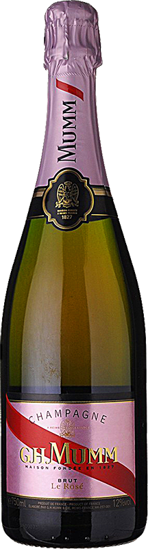 Engraved text on a bottle of Personalised Mumm Brut Rose Champagne 75cl