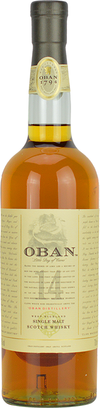 Engraved text on a bottle of Personalised Oban 14 Year Old Whisky 70cl