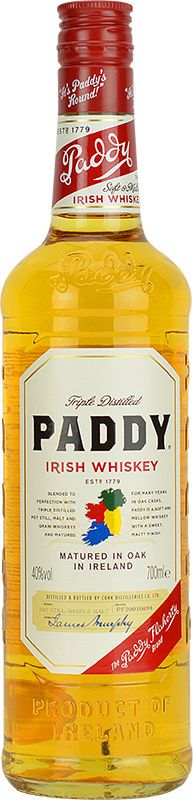 Engraved text on a bottle of Personalised Paddy Irish Whiskey 70cl