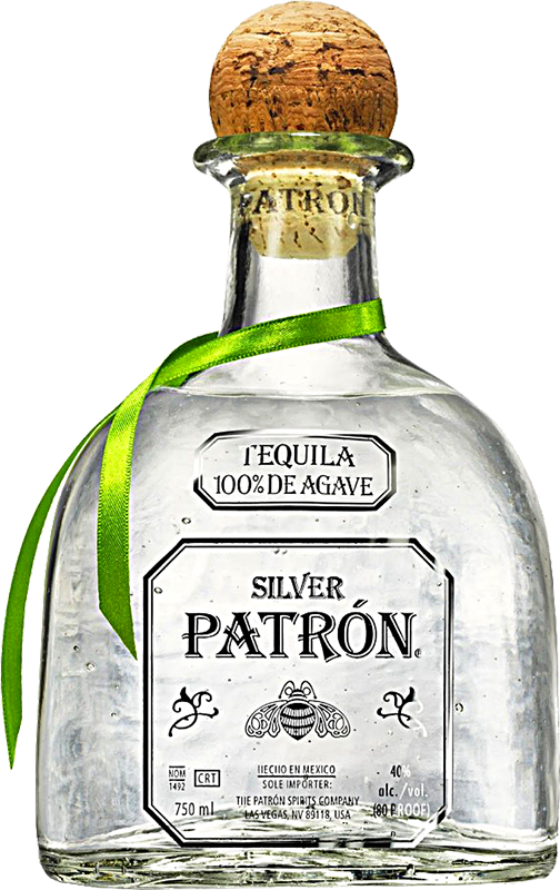 Engraved text on a bottle of Personalised Patron Silver Tequila 70cl