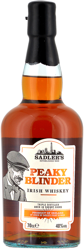 Engraved text on a bottle of Personalised Peaky Blinder Irish Whiskey 70cl
