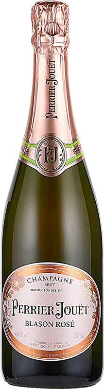 Engraved text on a bottle of Personalised Perrier Jouet Blason Rose Champagne 75cl
