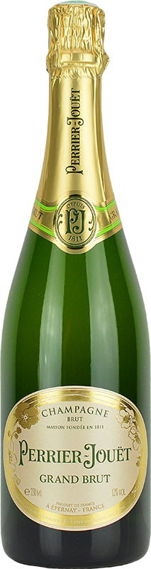 Engraved text on a bottle of Personalised Perrier Jouet Grand Brut Champagne 75cl