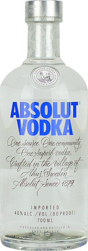 Engraved text on a bottle of Personalised Absolut Blue 70cl