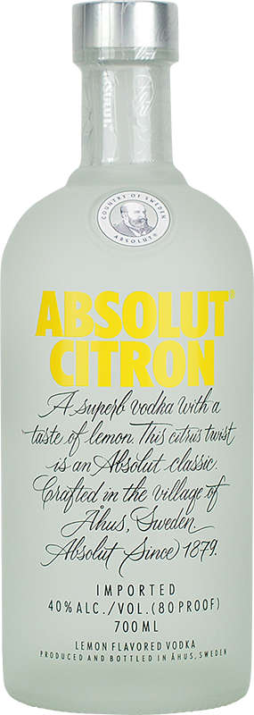 Engraved text on a bottle of Personalised Absolut Citron Vodka 70cl