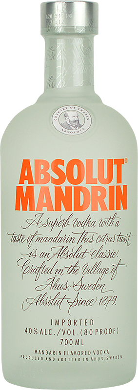 Engraved text on a bottle of Personalised Absolut Mandarin Vodka 70cl