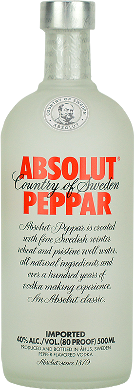 Engraved text on a bottle of Personalised Absolut Peppar Vodka 70cl