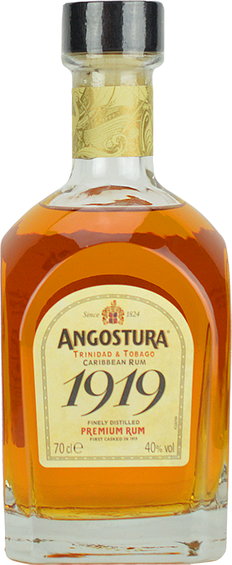 Engraved text on a bottle of Personalised Angostura 1919 Gold Rum 70cl
