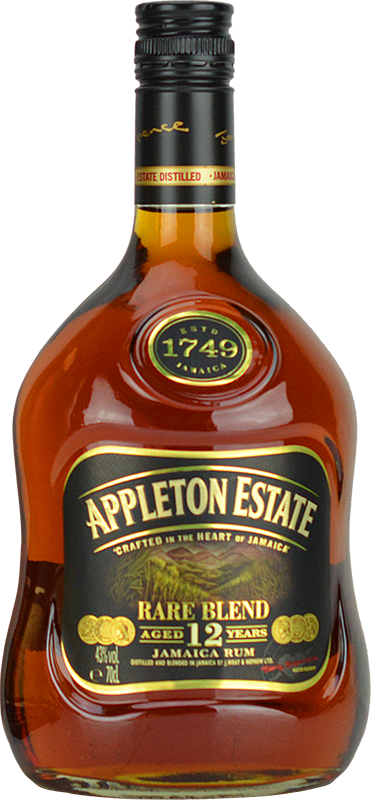 Engraved text on a bottle of Personalised Appleton Estate 12 Year Old Rare Blend Rum