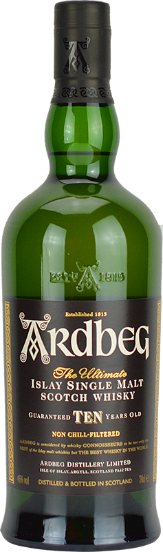 Engraved text on a bottle of Personalised Ardbeg 10 Year Old Whisky 70cl