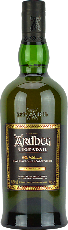 Engraved text on a bottle of Personalised Ardbeg Uigeadail Whisky 70cl