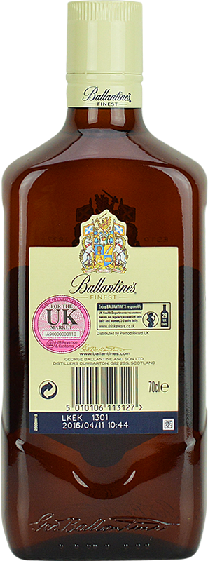 Ballantines Finest engraved bottle