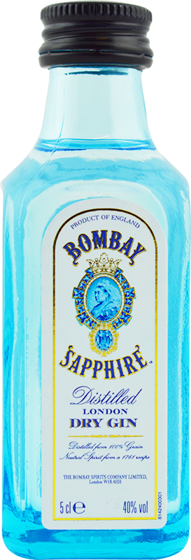 Engraved text on a bottle of Bombay Sapphire Miniature