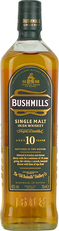 Engraved text on a bottle of Personalised Bushmills 10 Year Old Irish Whiskey 70cl