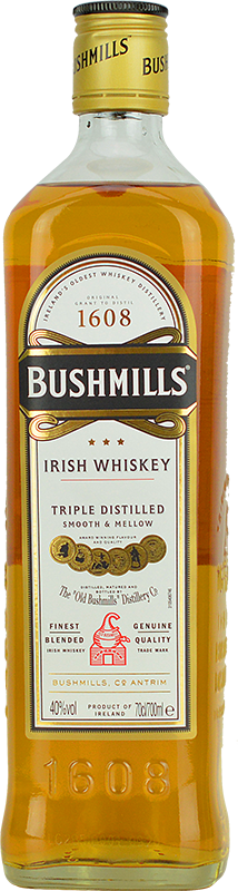 Engraved text on a bottle of Personalised Bushmills Original Whisky 70cl