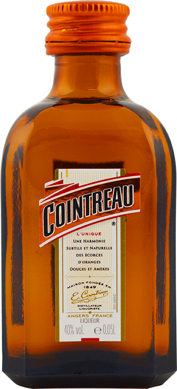 Engraved text on a bottle of Personalised Miniature Cointreau 5cl